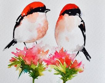 ORIGINAL Watercolor Bird Painting 6x9.5 Inch, Romantic Bird Art, Original Art