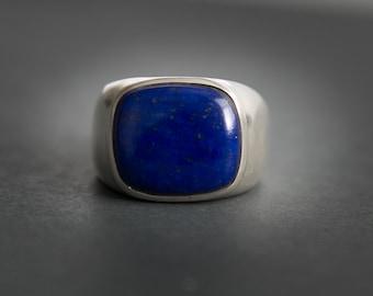 Lapis Ring - Large Lapis Lazuli Ring - size 10 - 12 - Mens Lapis Ring - Lapis Jewelry - Sterling Silver Lapis