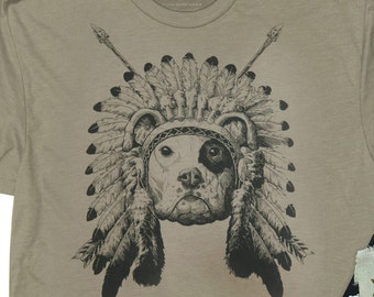 Dog wearing  Indian Headdress. Indian dog (Mens Shirt ) in Sizes Small to XXXL