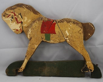 Antique Wooden Rocking Horse Toy Animal Early 1900's