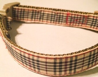 Tan,Black & Red plaid dog collar