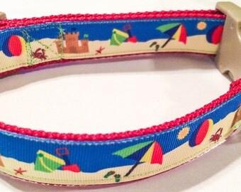 Beach scene dog collar