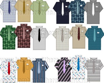 Father's Day Clip Art, Shirts, Pockets, Tie, Scrapbooking, Commercial Use Instant Download