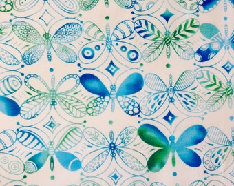 SALE - One, 37 Inch Piece of Fabric Material - Butterflies, Flight Patterns