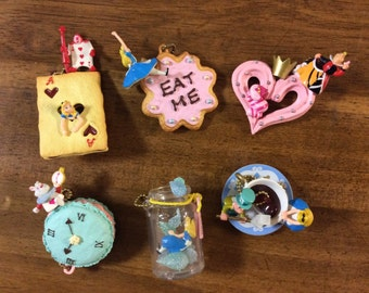 Kawaii Alice in wonderland figure charms.Select one.Eat me Drink me Queen of Heart White rabbit Tea party