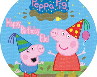 Peppa Pig Personalized Happy Birthday Edible Icing Round Cake Decor Topper - PP2B