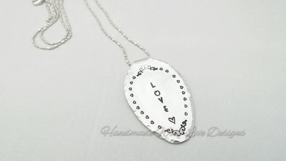 spoon love Hand stamped necklace