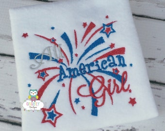 All American Girl Patriotic or 4th of July Shirt or Bodysuit,  Independence Day, Fireworks, 4th of July Parade, Girl 4th of July