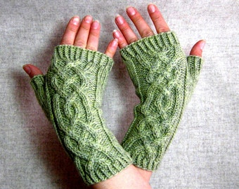 Fingerless Gloves with viking cables, light green wool, cabled mittens for women
