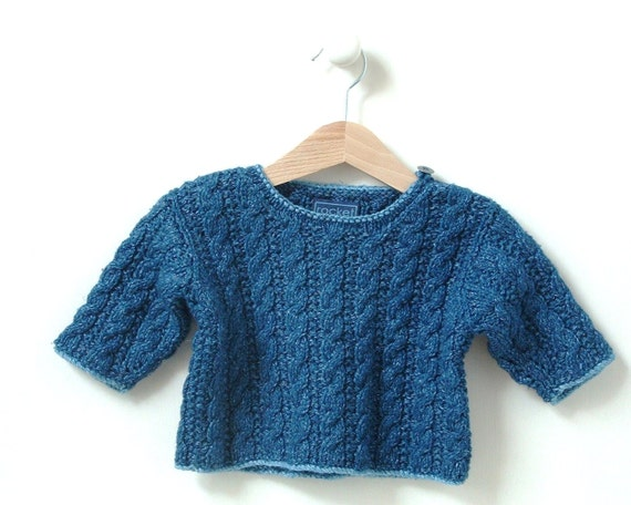 Knitting Pattern Cable Hoodie : KNITTING PATTERN baby sweater mini cable 0-4m