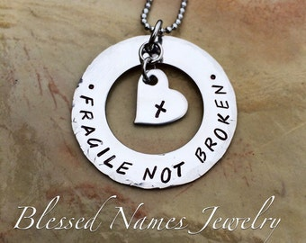 Fragile X Awareness - Fragile Not Broken Hand Stamped Stainless Steel Necklace ir leather bracelet
