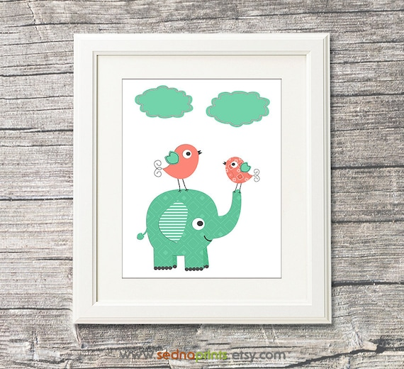 Items Similar To Mint And Coral Nursery Art Print Baby