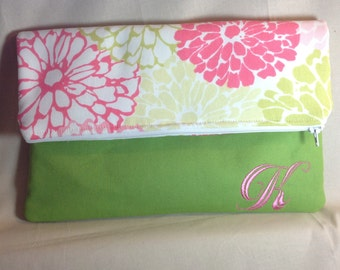 Fold over clutch purse, clutch purse, clutch purse with monogram, large clutch