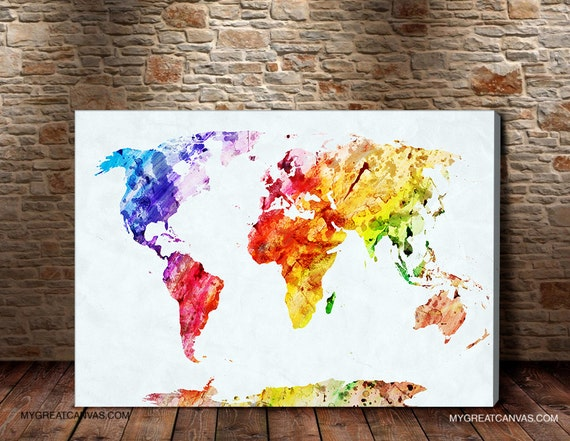Watercolor world map canvas prints wall art map by gallery wrapped watercolor world map canvas prints wall art map by gumiabroncs Image collections