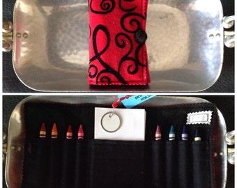 Crayon and sketch pad holder