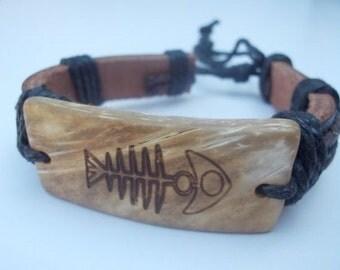 Fish Bones Leather Bracelet.