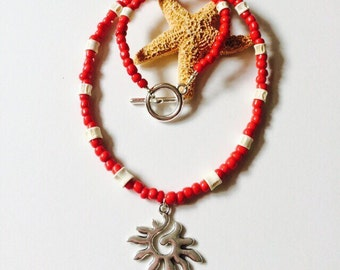 Fish Bone /Tribal Sun Necklace for Men & Women.