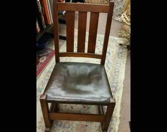 Authentic antique stickley furniture small oak rocking chair arts and crafts era