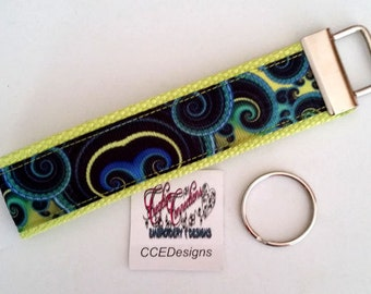 Kaleidoscope Ribbon Key Fob, Wristlet, Key Chain, Key Ring, Hands Free Lime Green Band NEW