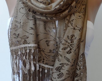 Pastel Brown lace scarf Tulle Scarf Cowl Scarf Women Fashion Accessories scarf Wedding scarf Pastel brown scarf Feminine Trend Fringe Scarf