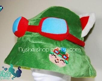 League of Legends Teemo hat with pixel chibi pin custom handmade hama beads