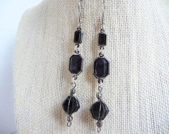Long Vintage-Style Lightweight Earrings with Black Faceted Acrylic Beads, Sensitive Skin Jewelry, Nickel Free by PassionInAction