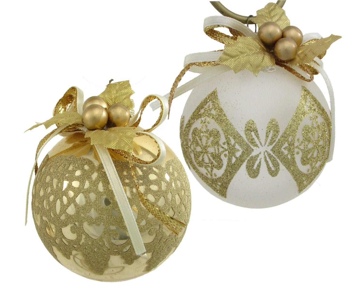 Silvestri gold christmas glass ball ornament ribbon trimmed