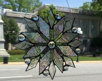Iridescent Stained Glass Snowflake