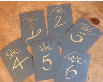 Table cards, table numbers, wedding place cards, place cards, calligraphy table cards, budget calligraphy