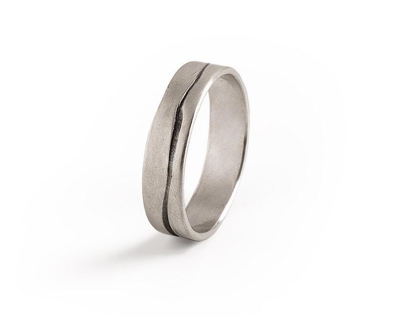 Men Grooved Ring Mens Wedding BandSterling Silver Wedding