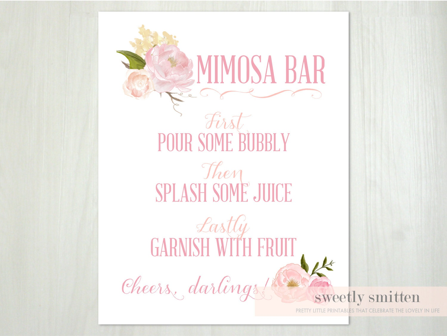 Inventive image in mimosa bar sign printable