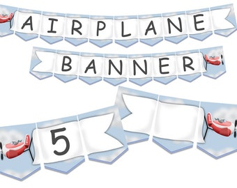 Airplane Party Banner with Airplane Decorations and Party Sign or Placemat, full alphabet and numbers, instant download
