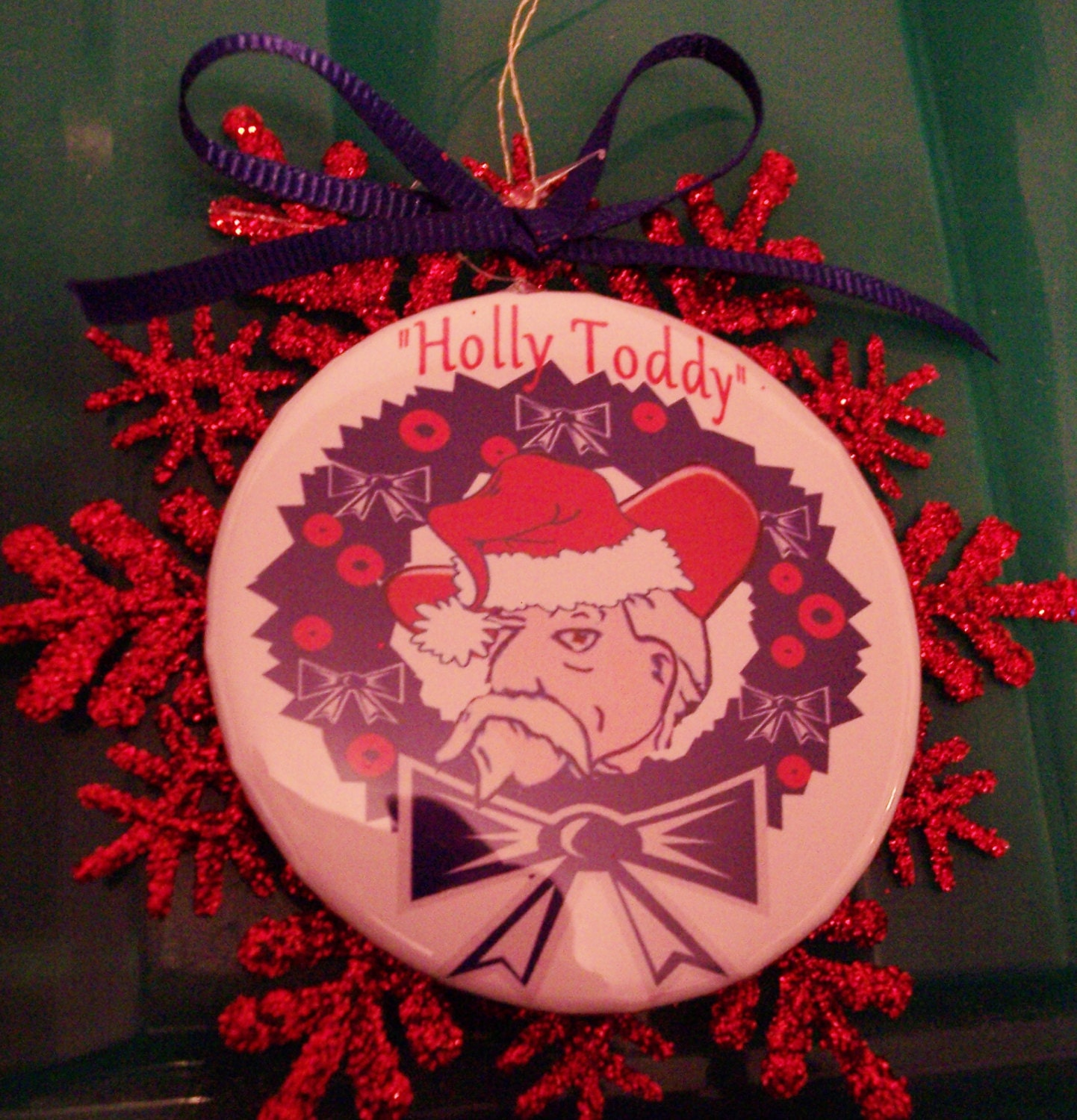 Ole Miss Colo nel Reb Holly Toddy pin with Red Wreath Ornament