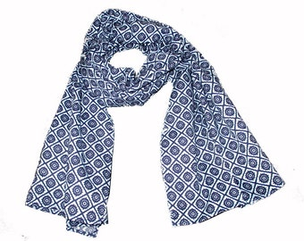 Summer scarf for children, blue and white designs. Kids scarf, blue and white designs. boys or girls