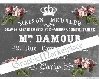Chalkboard French Maison Meubles Label Large Image Instant Download Vintage Transfer Fabric digital collage sheet printable No. 063