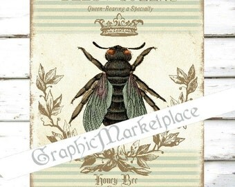 French Honey Bee Abeille Instant Download Large Image A4 Vintage Transfer Fabric digital collage sheet printable No. 1836