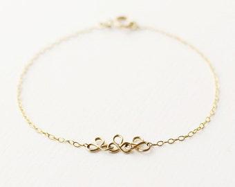 Grace - delicate 14k gold chain bracelet - dainty gold bracelet - simple silver bracelet - wedding jewellery
