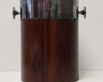 Rare Towle 4142 Teak and Silver Plate Champagne Wine Cooler