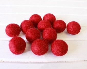 Crimson Felt Balls 12 count