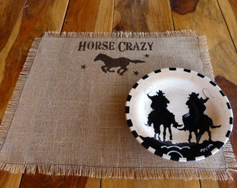 Burlap Placemat Country Western Southwestern Cowgirl Placemat Southwest Kitchen Ranch Decor