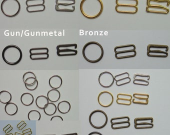 10pcs Metal Alloy bra strap djustment  slides and rings Hooks Figure 8 shape 0 shape and 9 shape  Gold Silver Bronze Gun 4color please pick