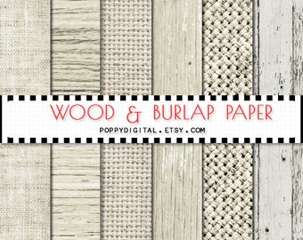 Nude Wood Burlap digital paper { wood background, rustic wood texture, wood printable, wedding digital paper, burlap, linen }