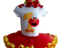 Toddler Personalized Sesame Street Elmo Birthday Tutu Outfit, My First Birthday Tutu Outfit, Set Includes Top/Onesie,Tutu,Hair Accessory