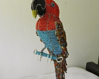 African Beaded Wire Animal Sculpture - ELECTUS PARROT - Natural