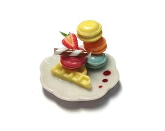 Miniature Sweet -Macaron plate Dessert Supply Dollshouse Miniature -AM167