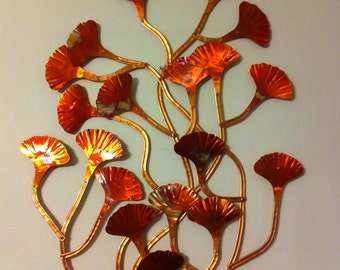 SOLD!!! Large Hand Made Copper Ginkgo Wall Hang