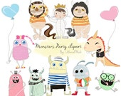 Monsters Clipart , cute monster PNG file-300 dpi