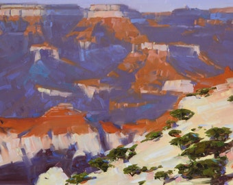 Grand Canyon North Rim Contemporary Original Oil painting Oil on Canvas Large Size Impressionism 27 x 42 in Handmade Nature Landscape