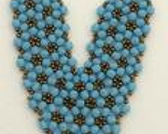 Necklace Jewelry Beadwoven with Fire polished Beads. Turquoise and Bronze Necklace. Beadweaving Jewelry.Beadweaving Necklace.FREE SHIPPING