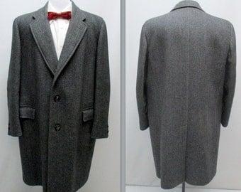 Vintage 60s Coat, 60s Herringbone Wool Coat, Vintage Winter Coat